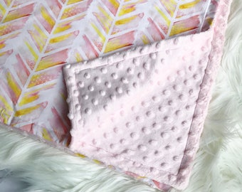 Chevron in pink, pink and yellow, baby blanket, pink minky blanket, minky blanket,