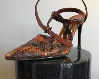 Donna Karan 8.5 Red Snakeskin Python Sling Back Wrap Around Ankle Heels Sandals 90's