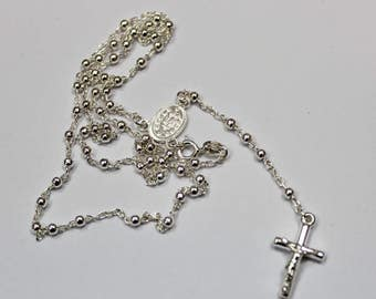 Silver Rosary 925 Sterling Silver 12''