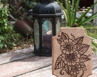 Wood Burned Flower Bouquet