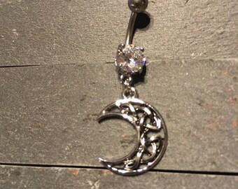 Crescent Celtic Moon Navel Ring