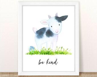PRINTABLE Cow Nursery Art Print, Be Kind Cow Art Print, Baby Cow Nursery, Farm Animal Girl Boy Nursery Print, Watercolor Calf, Farm Nursery