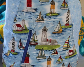Sailboat tote with inset