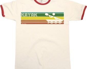 Retro KAYAK Strip Mens RINGER T-Shirt Kayaking Fashion New