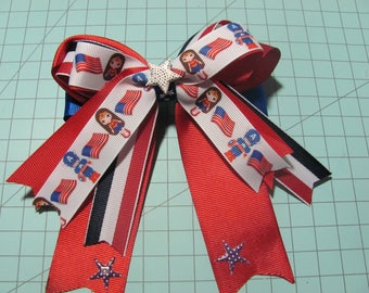 Disney Wonder Woman Captain America July 4th Fancy Stacked Ribbon Hair Bow