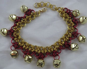 Gold Chain Maille Jingle Anklet