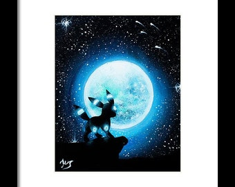 Digital print )Shiny Umbreon under the moon