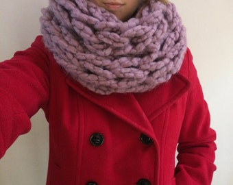 Super Chunky Cowl // Arm Knit Wool Blend Double Wrap Infinity Scarf