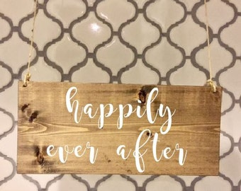 happily ever after/Ring Bearer Sign/Flower Girl Sign/Wedding Entrance/Wedding Ceremony/Wedding Sign/Rustic Wedding