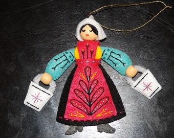 Twelve Days of CHristmas Maids-A-Milking Felt Ornament