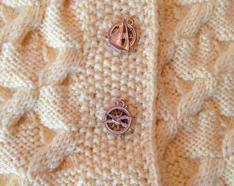 Hand Knit Cable Sweater with Nautical Buttons