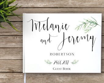 Floral Boho Wedding Guest Book, Garden Wedding Guestbook, Custom Guest Book, Personalized Guest Book