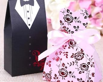 100 Bride and Groom Wedding Favor Boxes/DIY Pink Dress Sweetheart Wedding Dress Favor Gift Box/DIY Brides Dress Favor Boxes/Groom Tux Favor