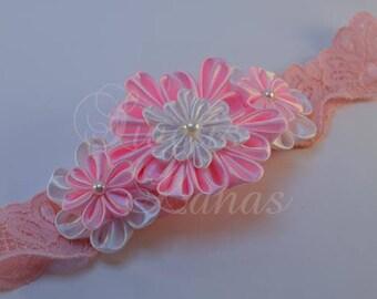 Kanzashi hair band, satin flower, headband, baby, kanzashi, fabric flower, pearls