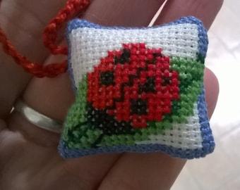 Keyring, pendant with Ladybug cross stitch