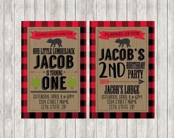 Digital Lumberjack Birthday Party Invite | Baby Boy | Boy Birthday Party | Decor | Invitations