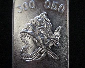 Navy Russian Military Metal Savage Fish Piranha Tag   Original and Vintage 1960s  Black Sea Fleet