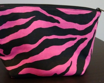 Zipper Pouch, Make-Up Bag, Travel Bag, Toiletry Bag, Pink and Black Zebra, Canvas