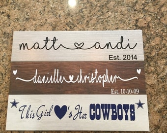 Personalized Porcelain Tile Sign - Wedding Anniversary Engagement Valentines Girlfriend Boyfriend Baby Name Gift