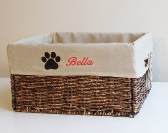 Pack of 3 baskets with personalized embroidered Liner, Foldable Wicker Basket,Toy Gift Basket, Pet Cat kitten Dog puppy stuff