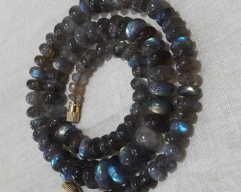 Lebradorite Multi Fire beads Necklace 18 INCH