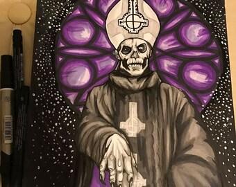 Papa Emeritus Ghost BC original marker drawing