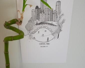 Original Hand Drawn Illustration Print - Central Park, New York - Art