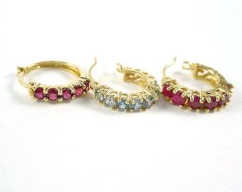 Lot of 3 Ruby Garnet Blue Topaz 14k Gold Hoop Earrings with Appraisal