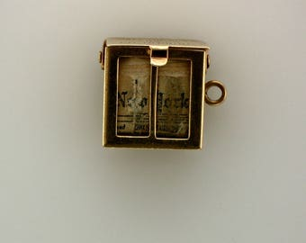 Vintage 14K Gold -New York Times Newspaper Box Charm for a Charm Bracelet