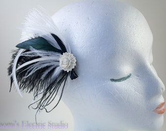 feather fascinator, black and white, hair clip, feather hair clip, bride, prom, bridal, wedding