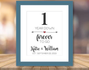 Second Wedding Anniversary Print Artwork Personalized Cotton