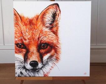 Fox - limited edition canvas print. Fox art - fox print - fox painting - fox picture - wildlife art.