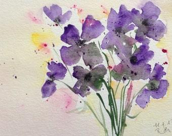 """Watercolour """"Flowers"""", nature, unique, 17 x 24 cm, image, art"""