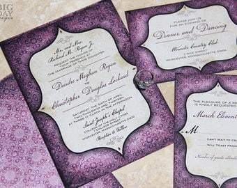 Vintage, Goth Pattern and Window Framed Wedding Invitation Set. Purple wedding invitations. Goth pattern wedding invitations