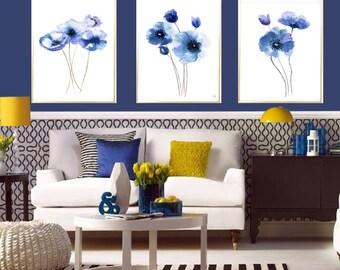 Poppy Flower Set of 3 Poppy wall decor Flowers Baby indigo Blue art Poppy kids wall art Abstract painting Poppy home decor poppy watercolor