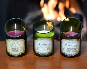3-Piece Wine Bottle Candle Set; Beautiful Scents of Merlot, Pinot, Chardonnay, Rose, Cabernet