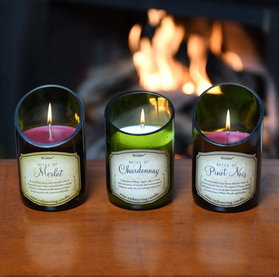 3-Piece Wine Bottle Candle Set; Beautiful Scents of Merlot, Pinot, Chardonnay, White Rosé, Cabernet. Superb Value Wine Gift. Very Unique.