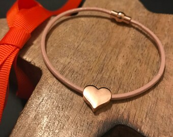 Stunning Pale Pink Leather Bracelet with solid Rose Gold Heart