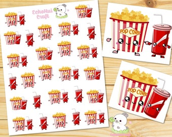 Movie Night/ Popcorn and Soft Drink Kawaii Icon Planner Stickers