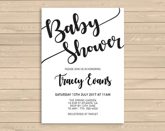 Baby Shower Invitation Printable, Black and White Invite, Monochrome Baby Shower Invite Printable, Shower Invitation Template, Simple Invite