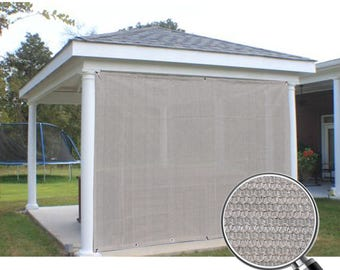 Custom Sized Sun Shade Privacy Panel with Grommets on 2 Sides for Patio, Awning, Window Cover, Canopy, Pergola or Gazebo - Smoke Gray