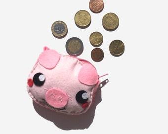 Purses, purse, coin purse, pig, pig, pig, felt animals, felt purse, felt bag