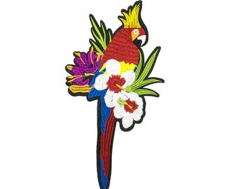 Free Shipping! Tropical Parrot Embroidered Iron-On Patch, Embroidery Applique