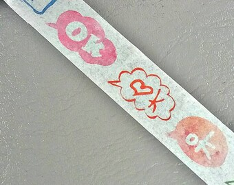 "Japanese Washi Tape. White Washi with word ""OK""."