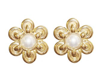 Clips VINTAGE - Pearl Flower Earrings