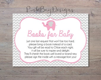 Pink Elephant Books For Baby Insert, Baby Shower Insert, Pink Elephant, Elephant Baby Shower, Elephant Baby Shower Printable, Books For Baby
