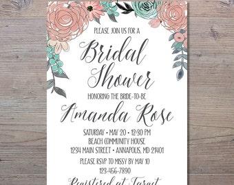 Pink And Blue Floral Bridal Shower Invitation, Floral Bridal Shower Invitation, Shower Invitation, Pink And Grey Bridal Shower, Bridal