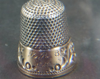 Antique Thimble, Ketcham McDougall Sterling Silver 1912, Monogrammed Sew Thimble, Vintage Sewing, Size 8 Timble, Free Shipping