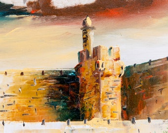 Oil Painting Landscape, Original Oil Painting Jerusalem Stone, Stone Painting Judaica Wall Art, Home  Decor Wall Art, Oil Painting Jerusalem