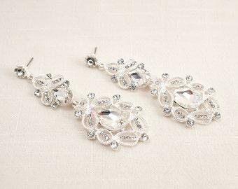 Wedding Bridal Swarovski Crystal Vintage Chandelier Earrings JSB10071ESilver